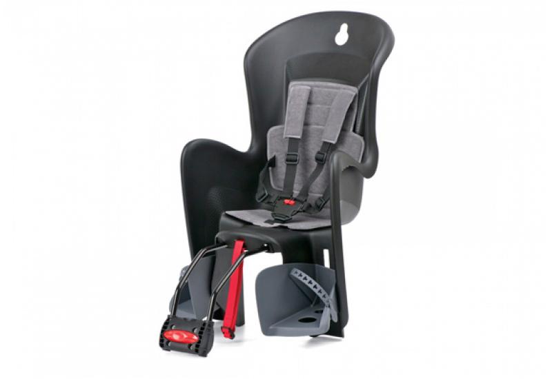 Sjedalica za djecu Polisport BILBY stražnja na okvir Crno/Siva, Crno-Siva, Sjedalica, Stražnja na ramu
