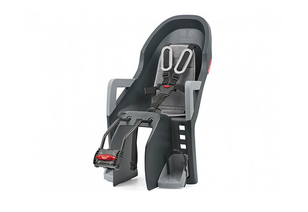 Sjedalo za dj. stražnje GUPPY MAXI na ramu Dark Grey/Silver Polisport