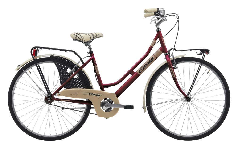 "Cinzia 26"" FRIENDLY LADY Single speed V-Brake Burgundy"