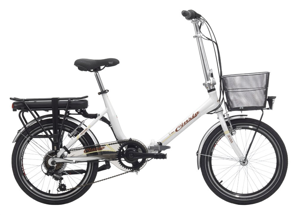 "Cinzia E-BIKE 20"" SFERA Folding V-Brake Pearl White"