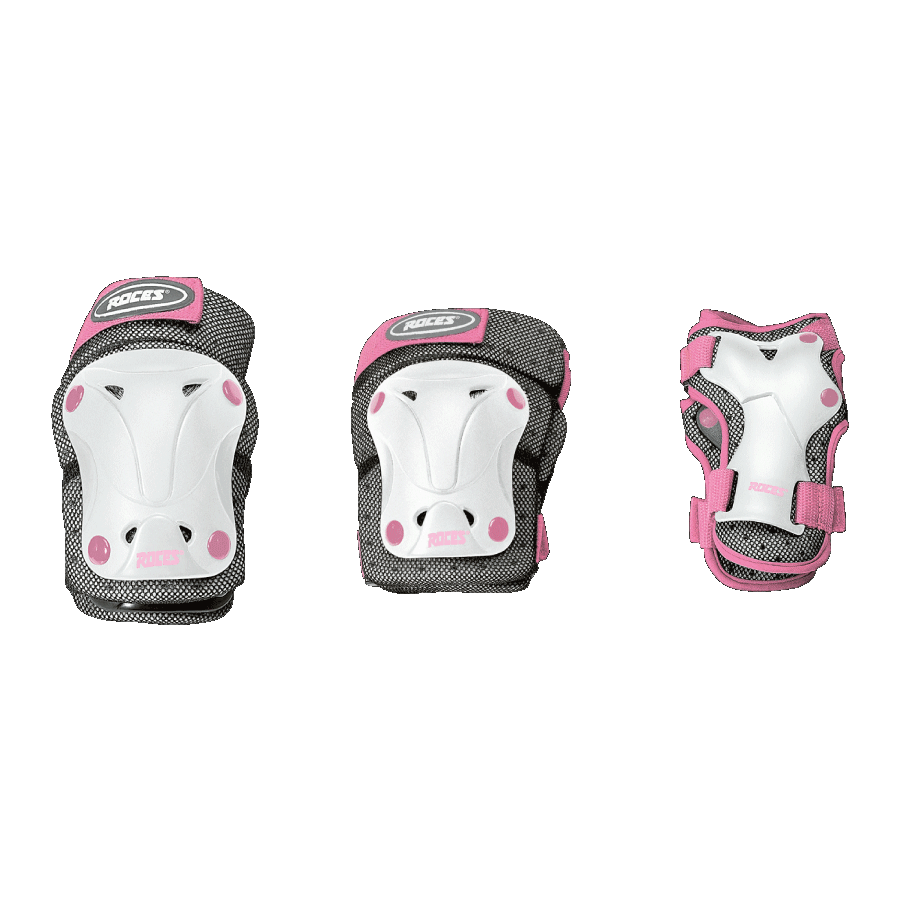 ŠTITNICI ROCES JUNIOR VENTILATED SET 3-PACK WHITE/PINK