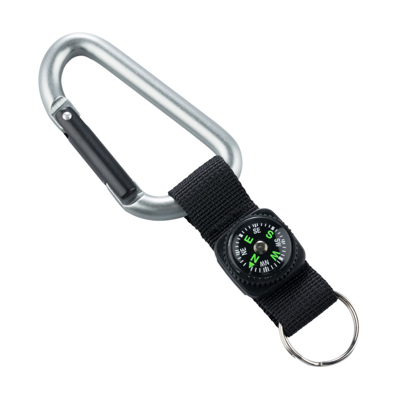 MUNKEES KARABINER 8 MM WITH COMPASS STRAP GRAY