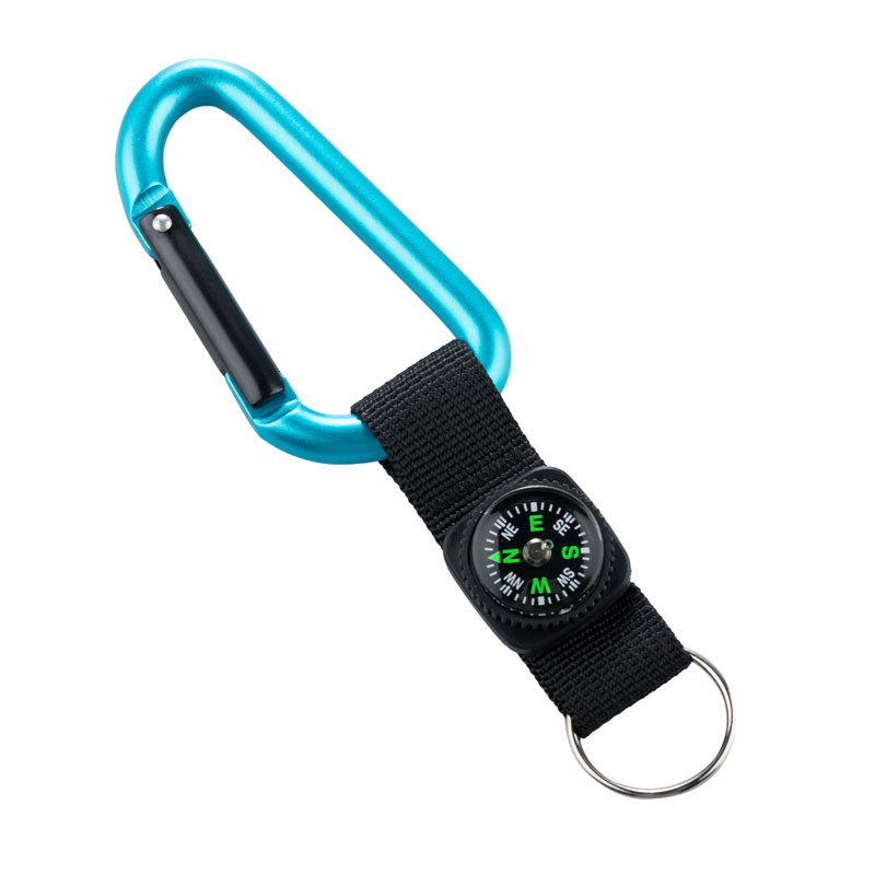 MUNKEES KARABINER 8 MM WITH COMPASS STRAP BLUE